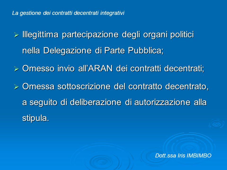 Illegittima partecipazione degli organi politici nella Delegazione di Parte Pubblica; Illegittima partecipazione degli organi politici nella Delegazio
