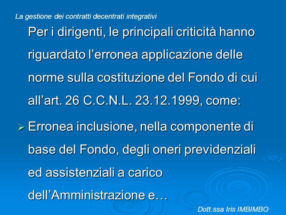Per i dirigenti, le principali criticità hanno riguardato lerronea applicazione delle norme sulla costituzione del Fondo di cui allart. 26 C.C.N.L. 23