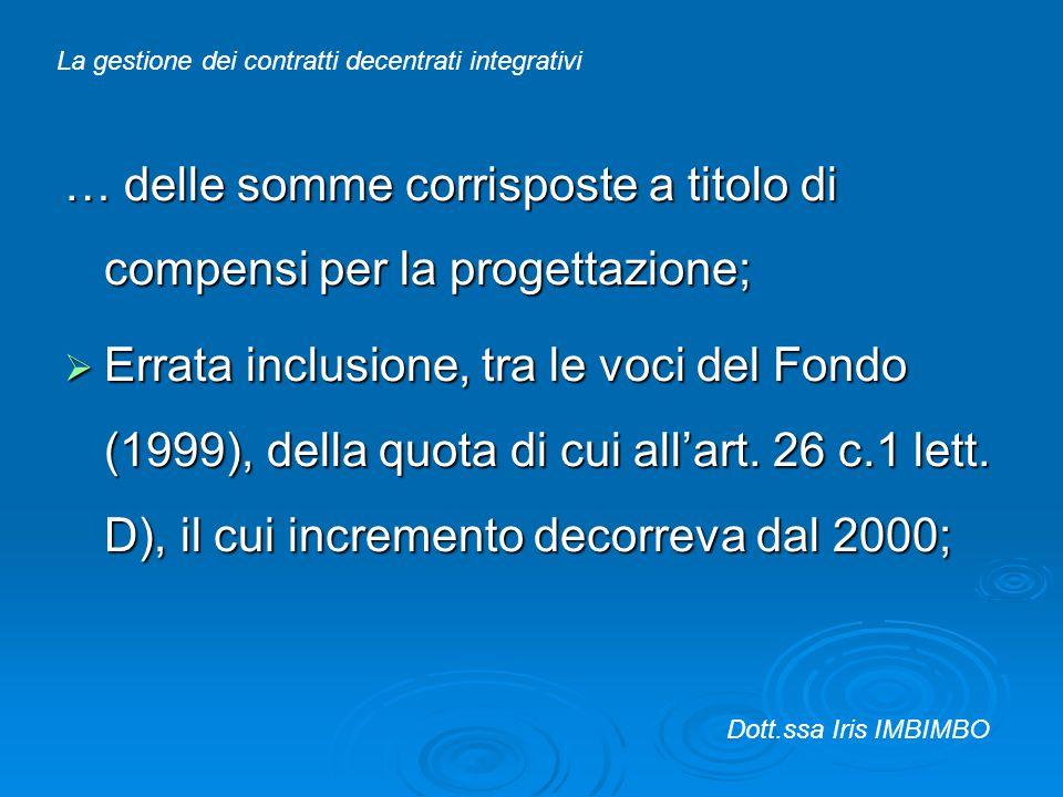 … delle somme corrisposte a titolo di compensi per la progettazione; Errata inclusione, tra le voci del Fondo (1999), della quota di cui allart. 26 c.