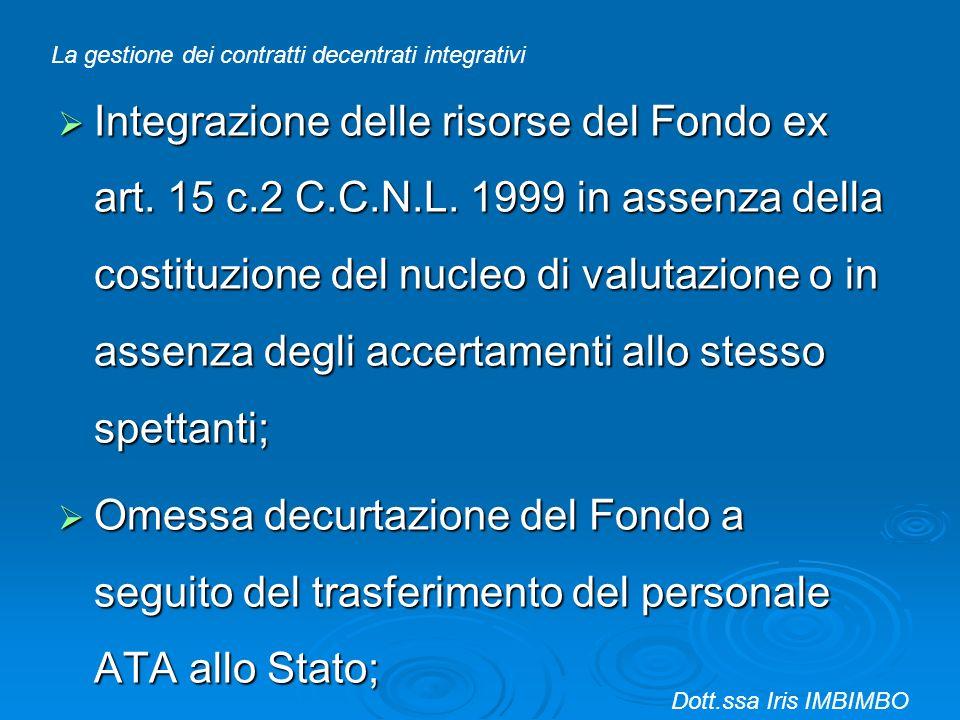 Integrazione delle risorse del Fondo ex art. 15 c.2 C.C.N.L. 1999 in assenza della costituzione del nucleo di valutazione o in assenza degli accertame