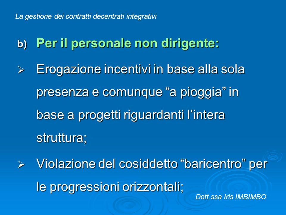 b) Per il personale non dirigente: Erogazione incentivi in base alla sola presenza e comunque a pioggia in base a progetti riguardanti lintera struttu