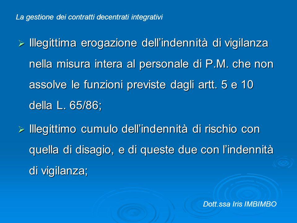 Illegittima erogazione dellindennità di vigilanza nella misura intera al personale di P.M. che non assolve le funzioni previste dagli artt. 5 e 10 del