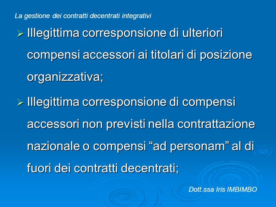 Illegittima corresponsione di ulteriori compensi accessori ai titolari di posizione organizzativa; Illegittima corresponsione di ulteriori compensi ac