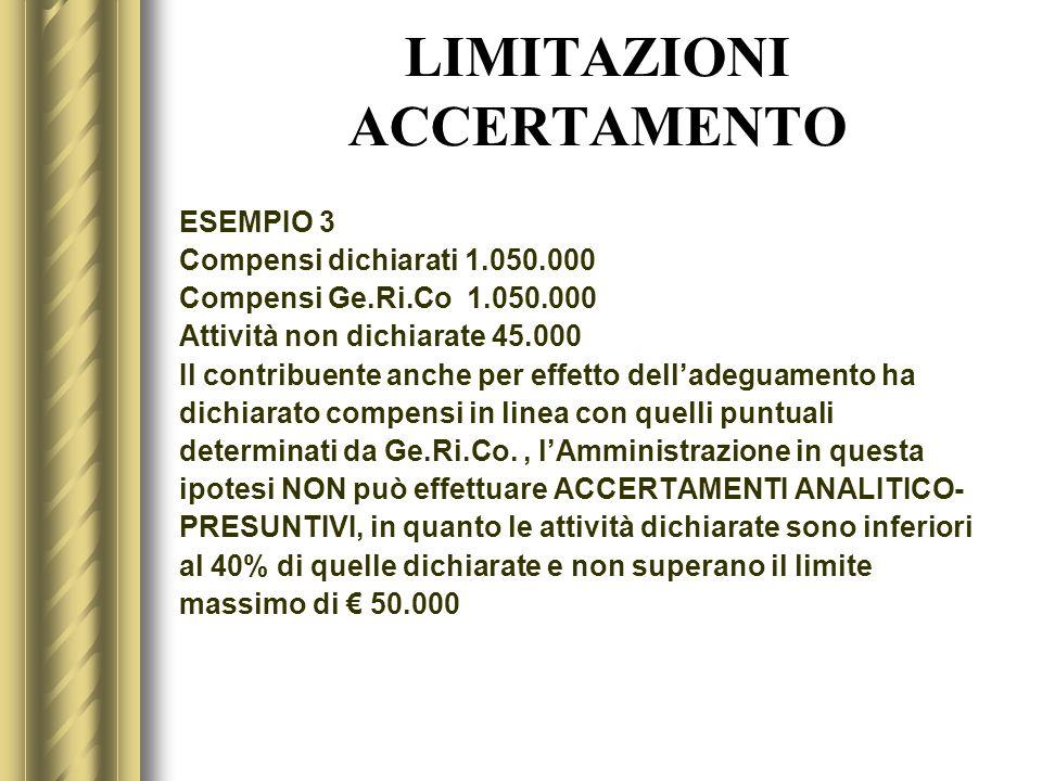 LIMITAZIONI ACCERTAMENTO ESEMPIO 3 Compensi dichiarati 1.050.000 Compensi Ge.Ri.Co 1.050.000 Attività non dichiarate45.000 Il contribuente anche per e