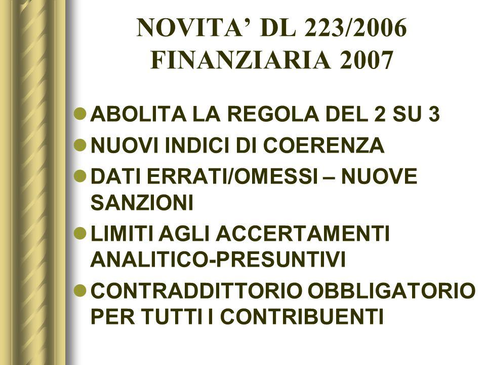 NOVITA DL 223/2006 FINANZIARIA 2007 ABOLITA LA REGOLA DEL 2 SU 3 NUOVI INDICI DI COERENZA DATI ERRATI/OMESSI – NUOVE SANZIONI LIMITI AGLI ACCERTAMENTI