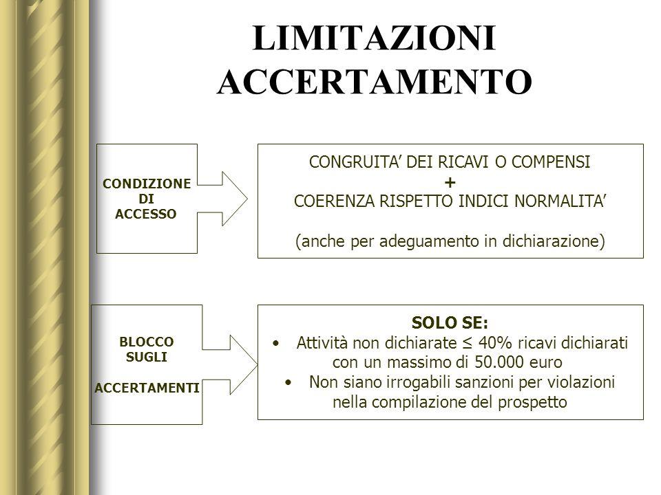 LIMITAZIONI ACCERTAMENTO CONDIZIONE DI ACCESSO CONGRUITA DEI RICAVI O COMPENSI + COERENZA RISPETTO INDICI NORMALITA (anche per adeguamento in dichiara