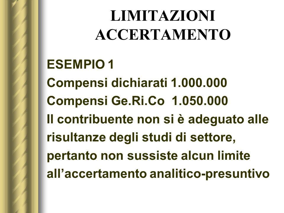 LIMITAZIONI ACCERTAMENTO ESEMPIO 1 Compensi dichiarati 1.000.000 Compensi Ge.Ri.Co 1.050.000 Il contribuente non si è adeguato alle risultanze degli s