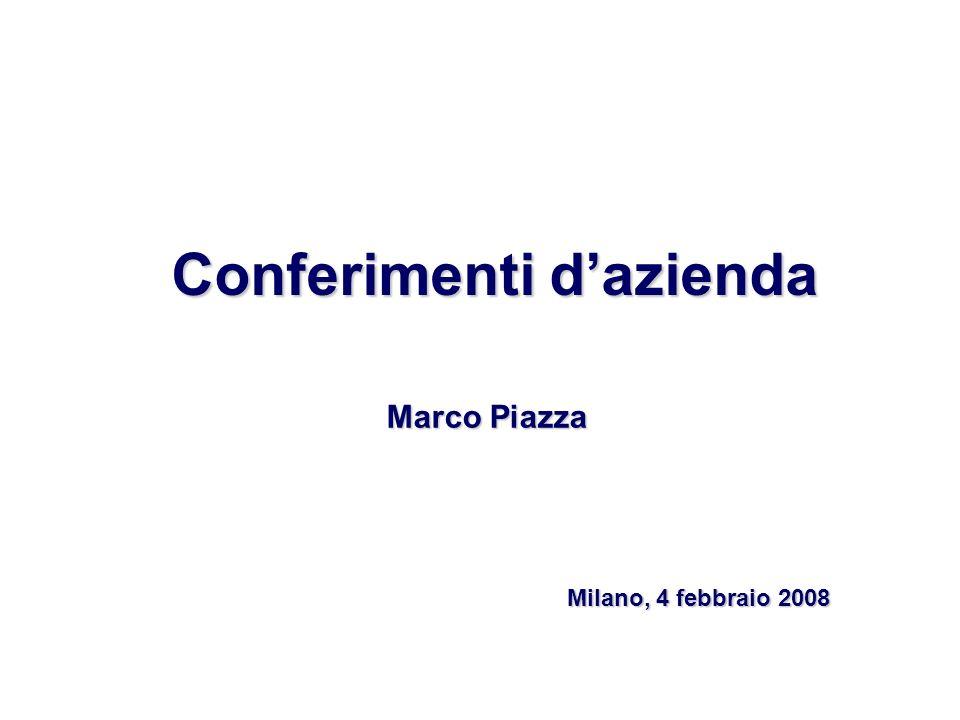 Conferimenti dazienda Marco Piazza Milano, 4 febbraio 2008