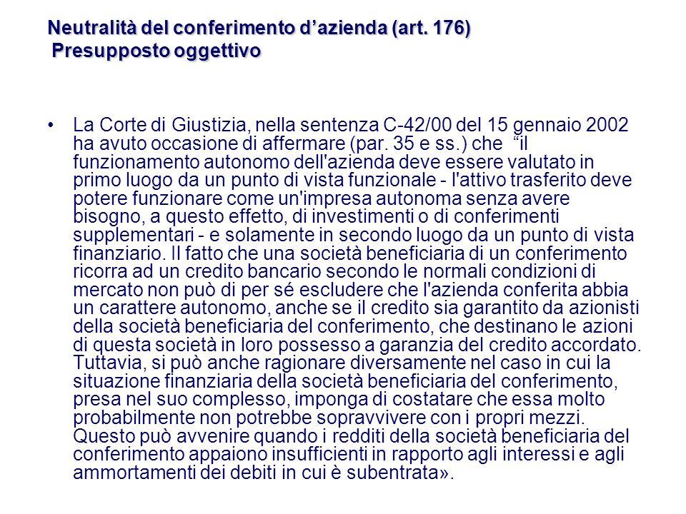 La Corte di Giustizia, nella sentenza C-42/00 del 15 gennaio 2002 ha avuto occasione di affermare (par.