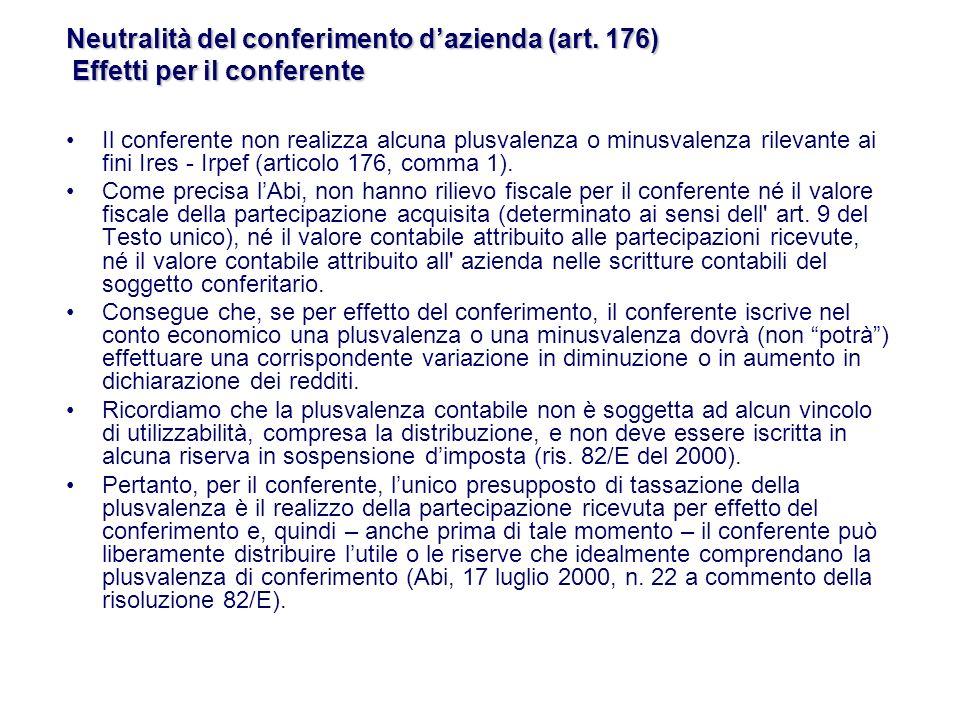 Il conferente non realizza alcuna plusvalenza o minusvalenza rilevante ai fini Ires - Irpef (articolo 176, comma 1).