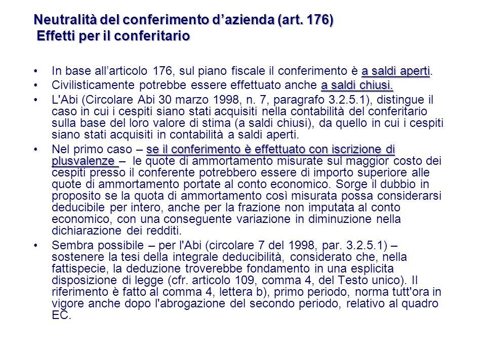 a saldi apertiIn base allarticolo 176, sul piano fiscale il conferimento è a saldi aperti.
