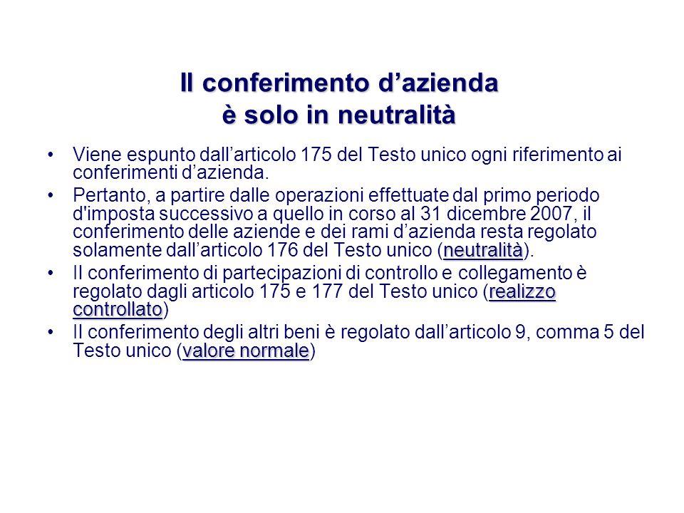 Viene espunto dallarticolo 175 del Testo unico ogni riferimento ai conferimenti dazienda.