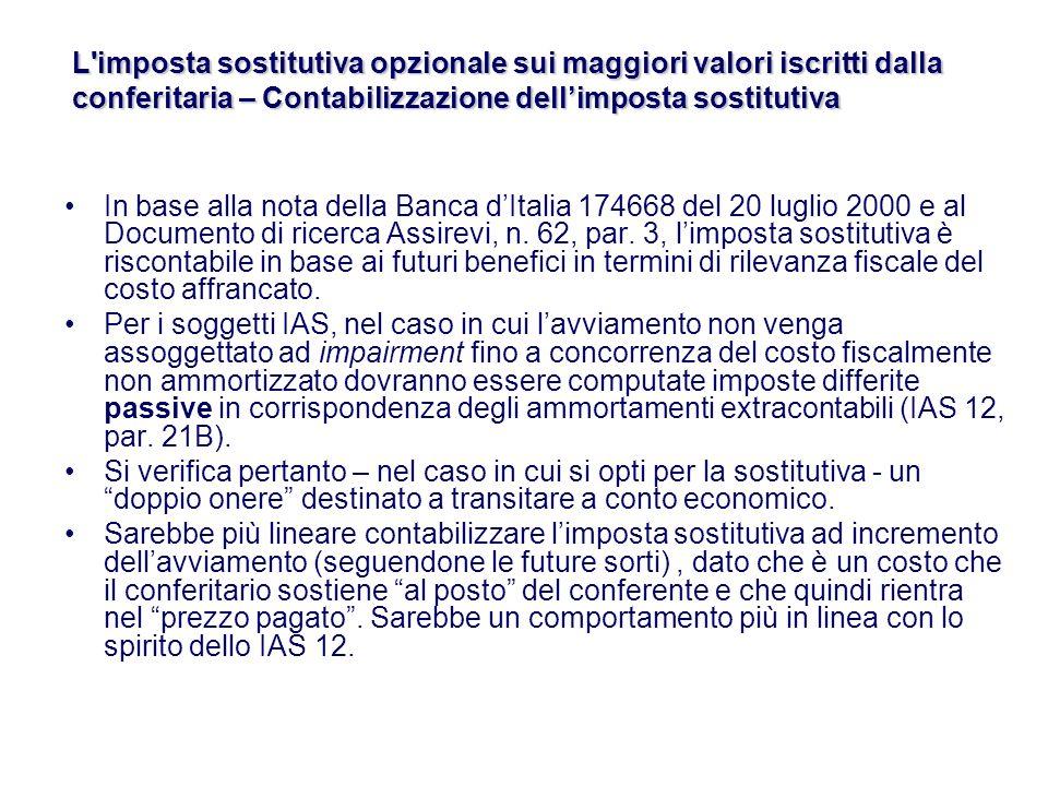 In base alla nota della Banca dItalia 174668 del 20 luglio 2000 e al Documento di ricerca Assirevi, n.