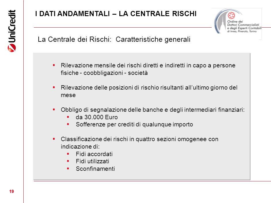 19 La Centrale dei Rischi: Caratteristiche generali Rilevazione mensile dei rischi diretti e indiretti in capo a persone fisiche - coobbligazioni - so