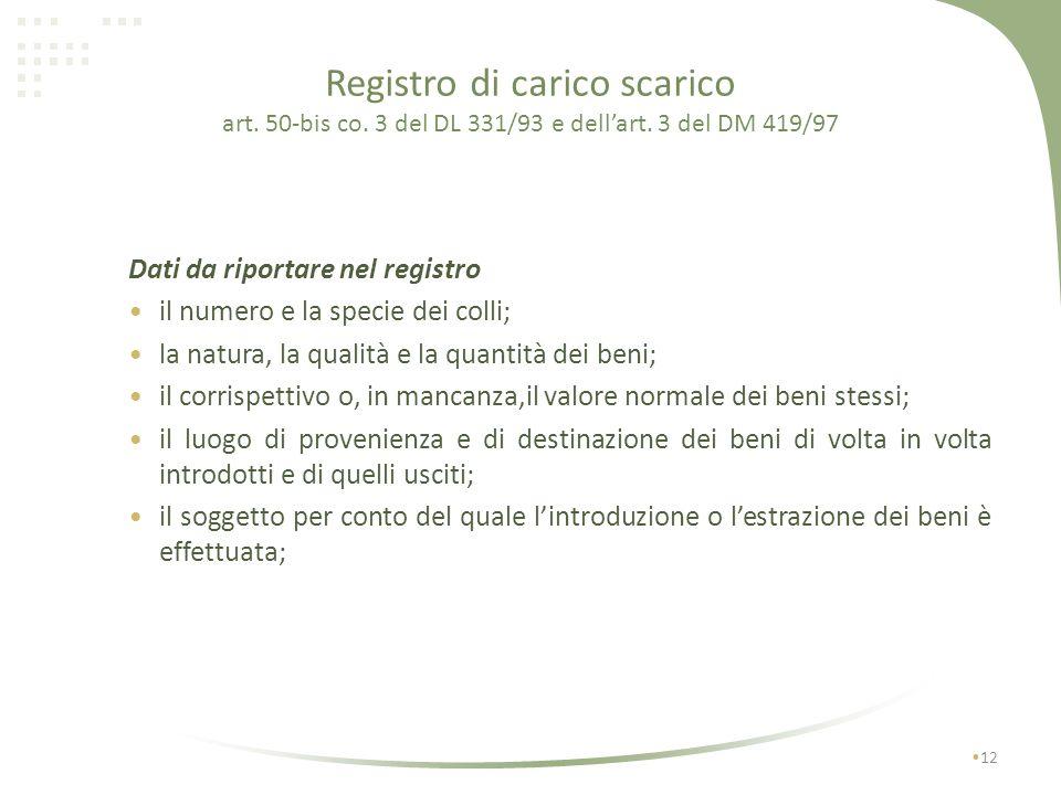 Registro di carico scarico art. 50-bis co. 3 del DL 331/93 e dellart. 3 del DM 419/97 11 Deve essere istituito, anteriormente alla prima introduzione