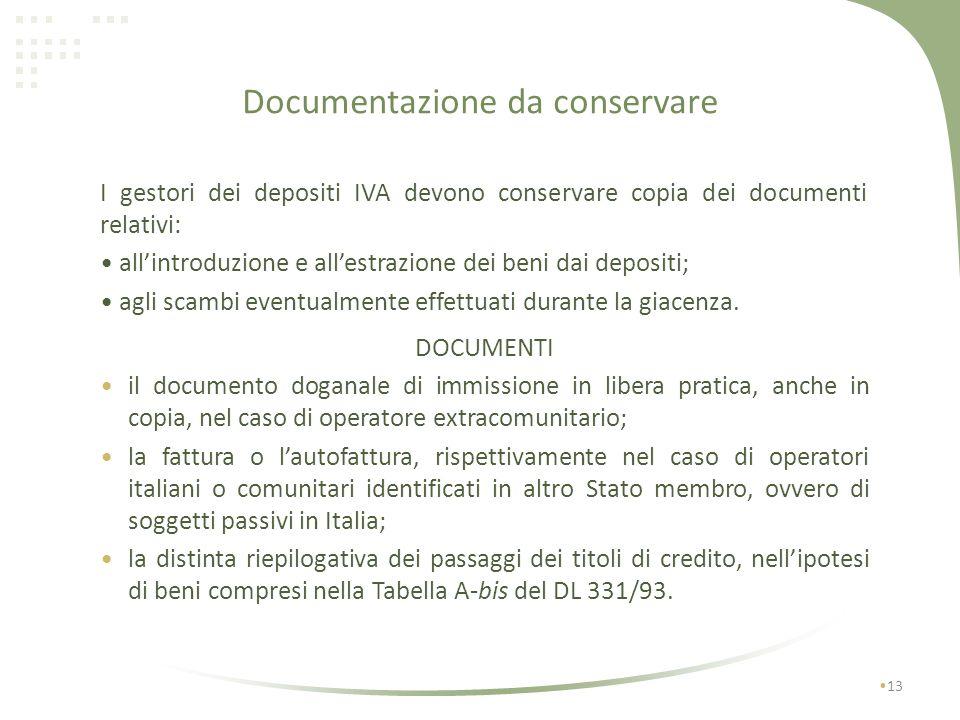 Registro di carico scarico art. 50-bis co. 3 del DL 331/93 e dellart. 3 del DM 419/97 12 Dati da riportare nel registro il numero e la specie dei coll