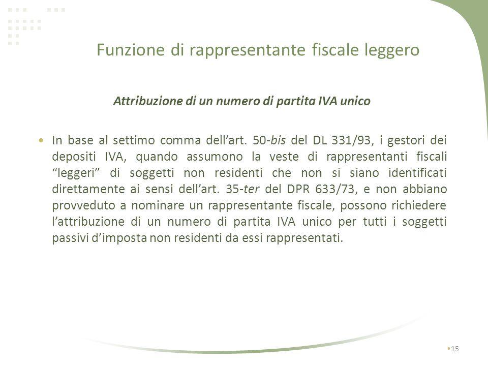 Funzione di rappresentante fiscale leggero 14 Nellipotesi in cui gli obblighi formali e procedurali facciano capo a soggetti passivi IVA identificati