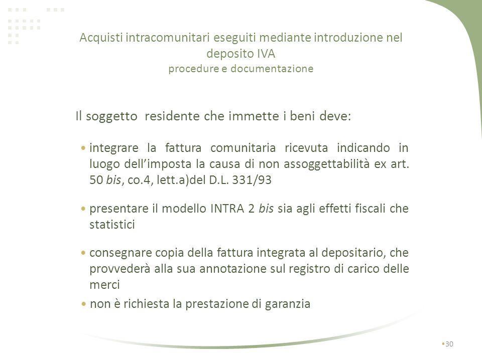 Acquisti intracomunitari eseguiti mediante introduzione nel deposito IVA 29 con deposito IVA I No IVA I1I1 art.50 bis / 331 I2I2 No IVA art.50 bis / 3