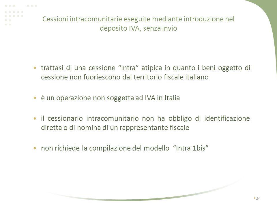 Cessioni intracomunitarie eseguite mediante introduzione nel deposito IVA, senza invio 33 con deposito IVA I I1I1 No IVA F No IVA art 50 bis No IVA NO