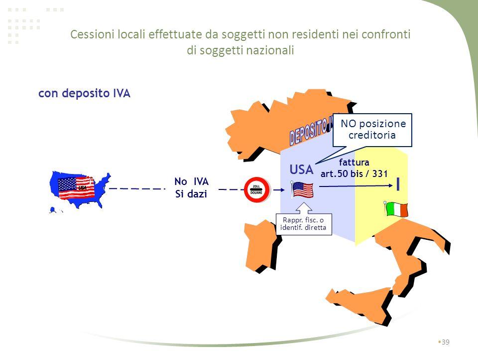 38 USA I senza deposito IVA Si IVA-Si dazi pagamento in dogana cessione in reverse charge Cessioni locali effettuate da soggetti non residenti nei con