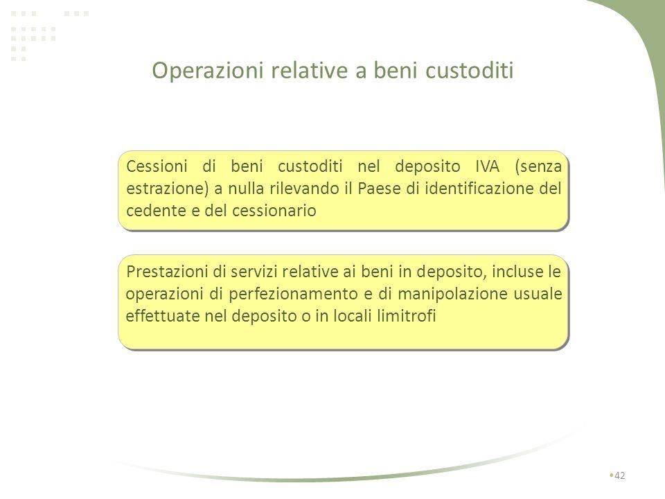 Cessioni di beni di cui alla Tab A-bis effettuate mediante introduzione nel deposito IVA 41 Le cessioni devono essere effettuate nei confronti di: ces