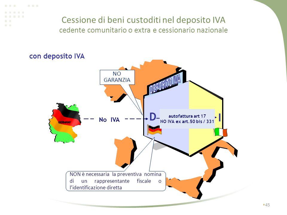 Cessione di beni custoditi nel deposito IVA cedente e cessionario nazionali 44 con deposito IVA I I1I1 fattura art.50 bis / 331 No IVA Si dazi GARANZI