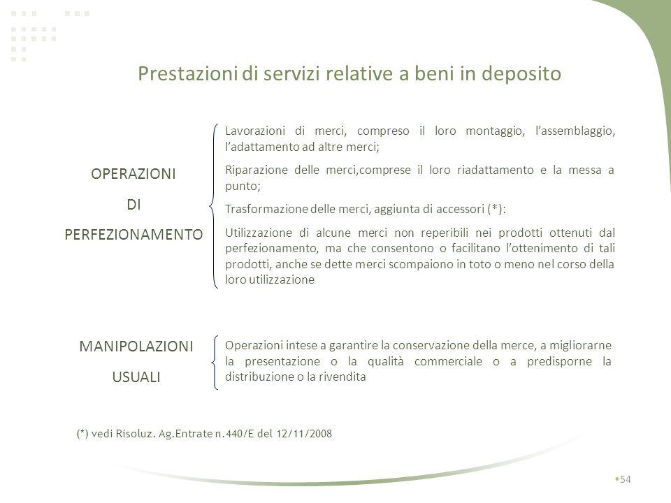 Prestazioni di servizi relative a beni in deposito 53 Per locali limitrofi si intendono i locali che pur non costituendo parte integrante del deposito