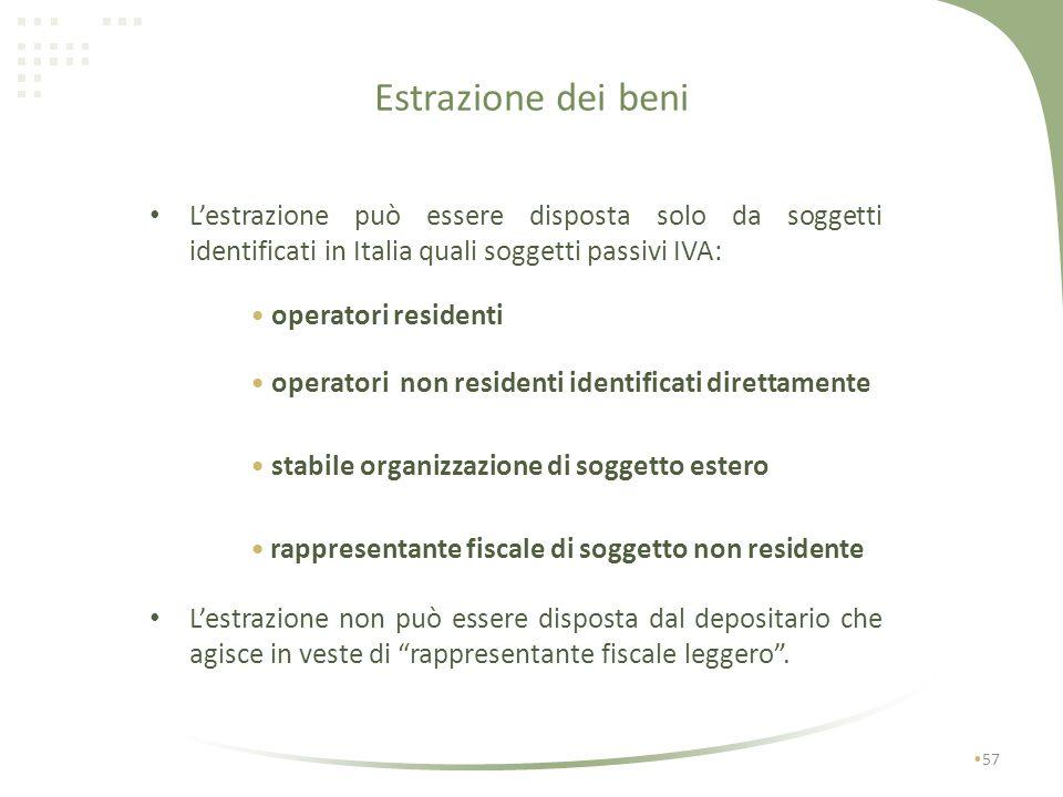 Estrazione dei beni 56 estrazione per utilizzo o commercializzazione in Italia soggetta ad imposta non soggetta ad imposta estrazione con destinazione