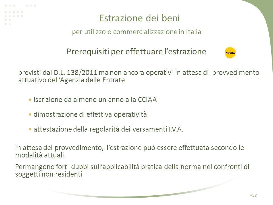 Estrazione dei beni Lestrazione può essere disposta solo da soggetti identificati in Italia quali soggetti passivi IVA: 57 operatori residenti stabile
