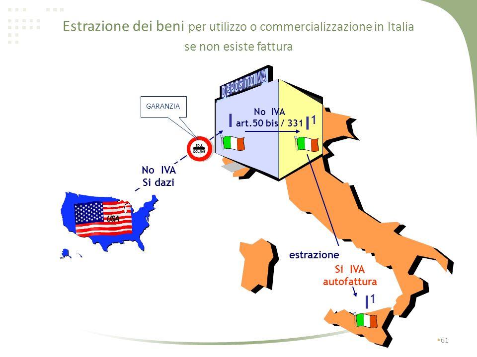Estrazione dei beni per utilizzo o commercializzazione in Italia 60 I1I1 estrazione I I No IVA SI dazi se non esiste fattura Si IVA autofattura Si IVA