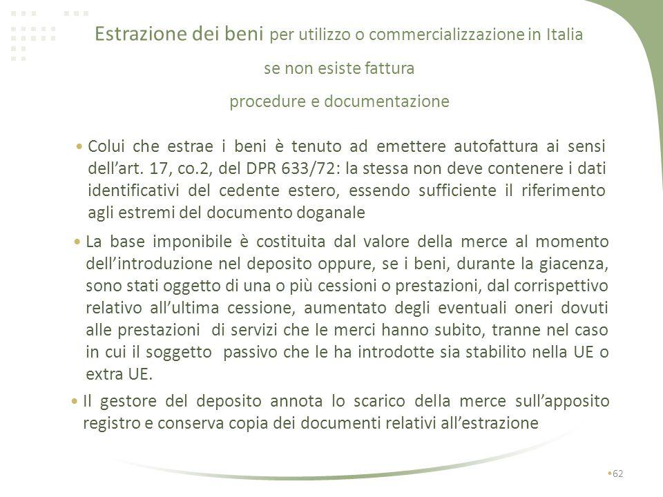 61 I I1I1 No IVA Si dazi Estrazione dei beni per utilizzo o commercializzazione in Italia se non esiste fattura I1I1 No IVA art.50 bis / 331 Si IVA au