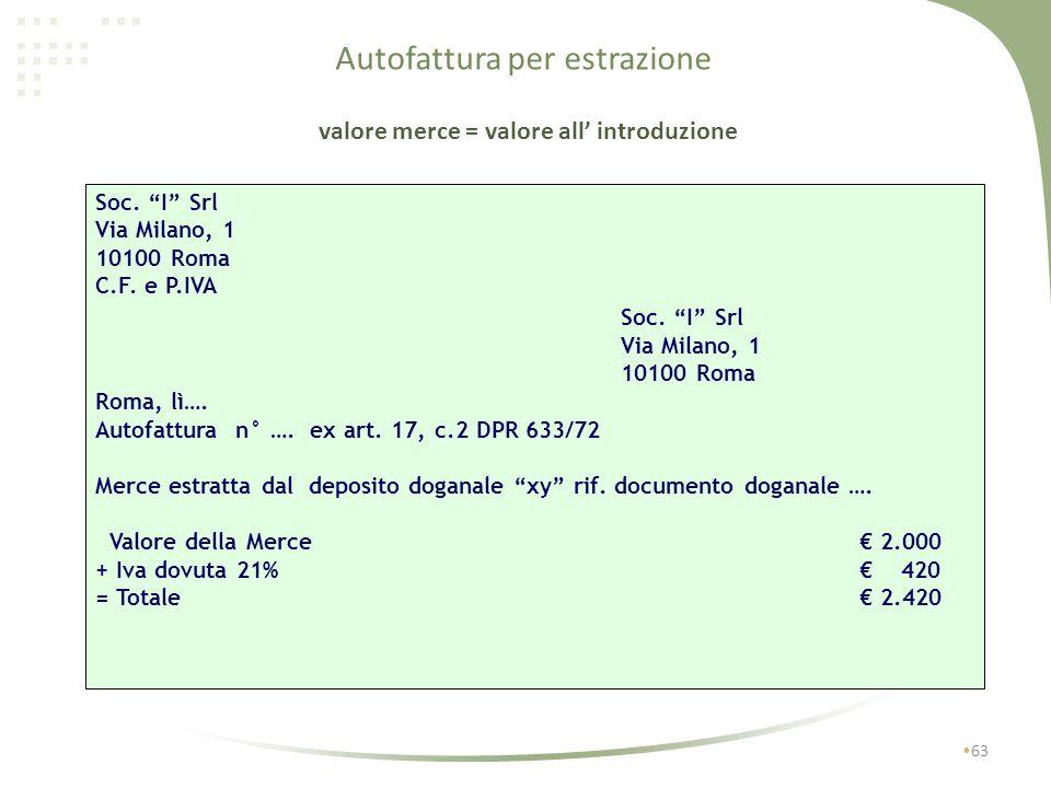 Estrazione dei beni per utilizzo o commercializzazione in Italia se non esiste fattura procedure e documentazione 62 Il gestore del deposito annota lo