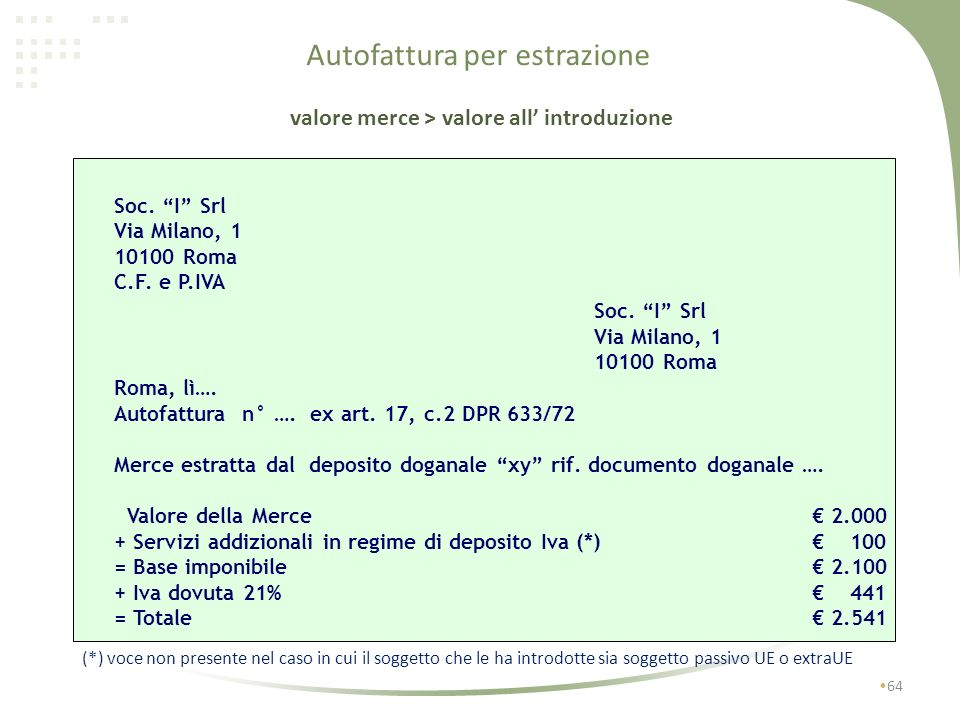 Autofattura per estrazione Soc. I Srl Via Milano, 1 10100 Roma C.F. e P.IVA Soc. I Srl Via Milano, 1 10100 Roma Roma, lì…. Autofattura n° …. ex art. 1