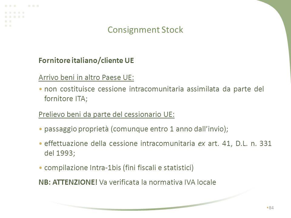 Consignment Stock 83 Prelievo beni da parte del cessionario scarico registro art. 50, c. 5, D.L. n. 331 del 1993 integrazione e registrazione fattura