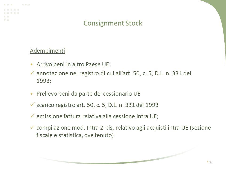 Consignment Stock 84 Prelievo beni da parte del cessionario UE: passaggio proprietà (comunque entro 1 anno dallinvio); effettuazione della cessione in