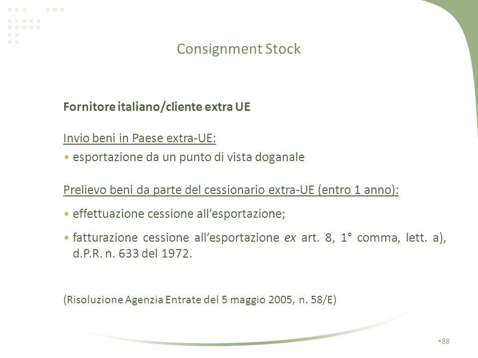 Consignment Stock 87 NO semplificazione -Cipro- Malta -Danimarca - Spagna -Estonia - Portogallo -Germania - Svezia -Grecia -Lituania