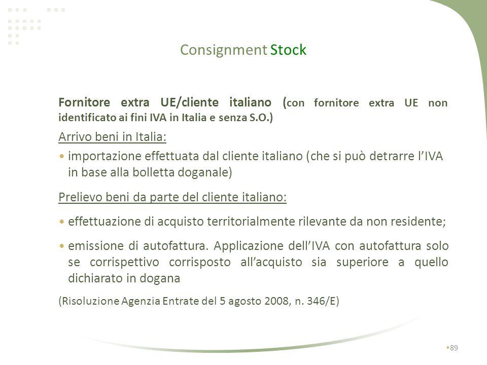 Consignment Stock 88 Prelievo beni da parte del cessionario extra-UE (entro 1 anno): effettuazione cessione allesportazione; fatturazione cessione all