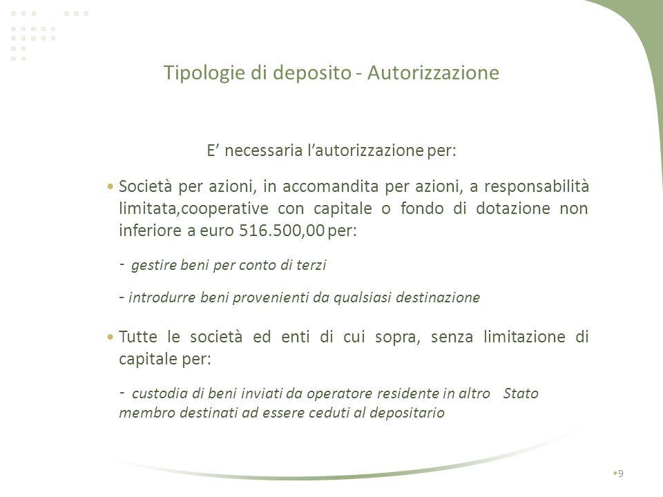 Tipologie di deposito - Autorizzazione 8 NON è necessaria lautorizzazione per: imprese esercenti i magazzini generali con autorizzazione doganale impr