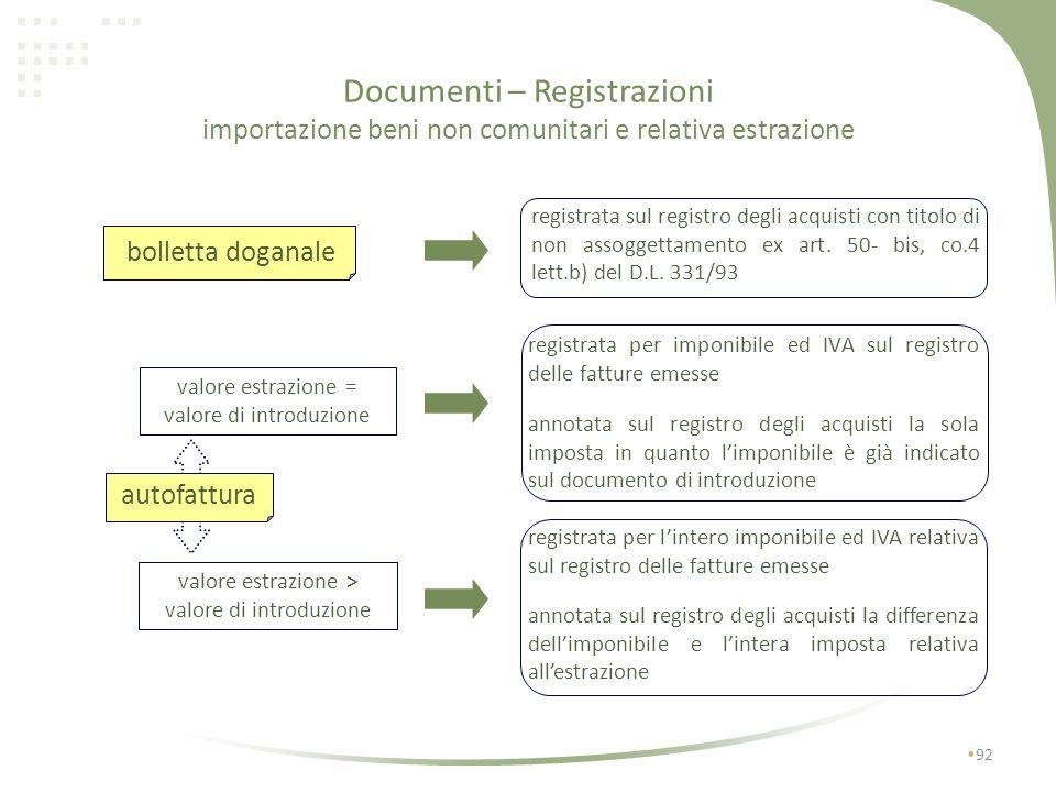Documenti - Registrazioni 91 integrazione fattura intra bolletta doganale Importazione beni Acquisti intracomunitari fattura intracomunitaria autofatt