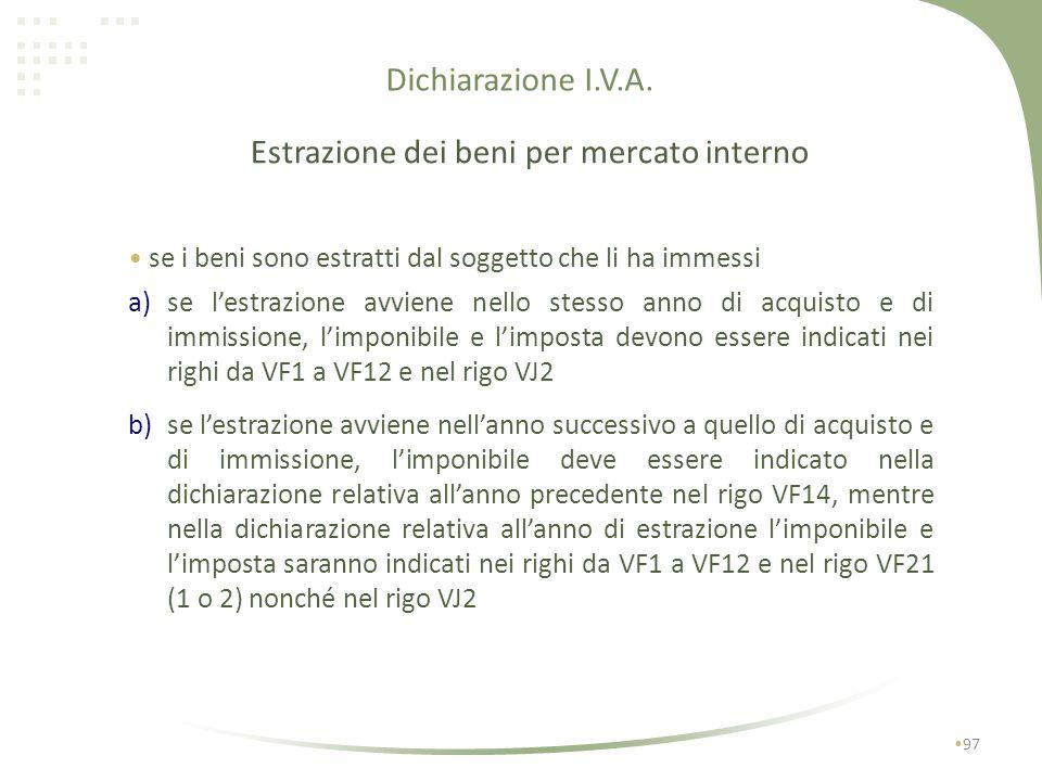 Dichiarazione I.V.A. 96 Immissione in libera pratica Tali operazioni devono essere indicate nel rigo VF14 (altri acquisti non imponibili, non soggetti