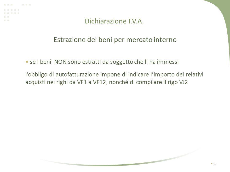 Dichiarazione I.V.A. 97 Estrazione dei beni per mercato interno se i beni sono estratti dal soggetto che li ha immessi a)se lestrazione avviene nello