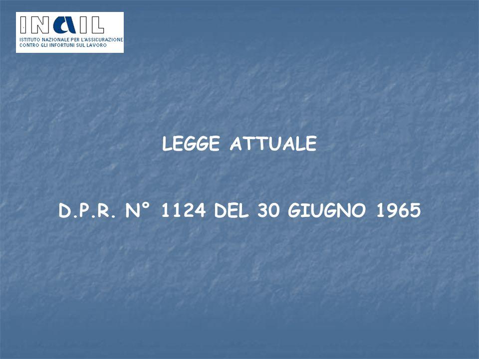 LEGGE ATTUALE D.P.R. N° 1124 DEL 30 GIUGNO 1965