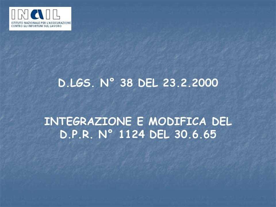 D.LGS. N° 38 DEL 23.2.2000 INTEGRAZIONE E MODIFICA DEL D.P.R. N° 1124 DEL 30.6.65