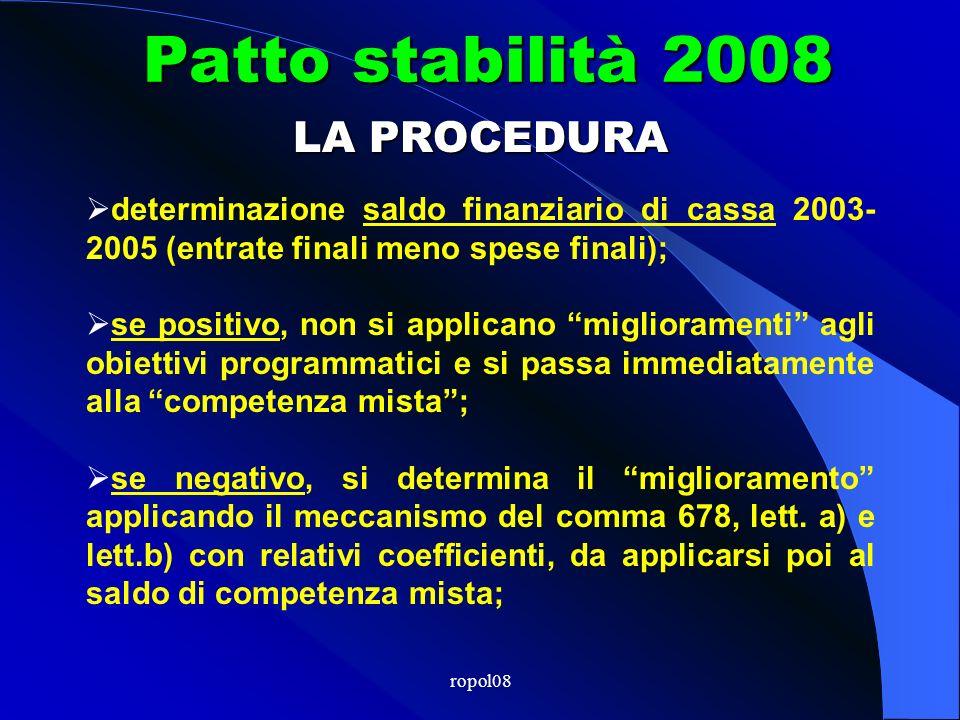 ropol08 Patto stabilità 2008 Miglioramento ( o conferma) Saldo finanziario competenza mista 2003-2005 LE REGOLE DEL PATTO Regola Unica (art.