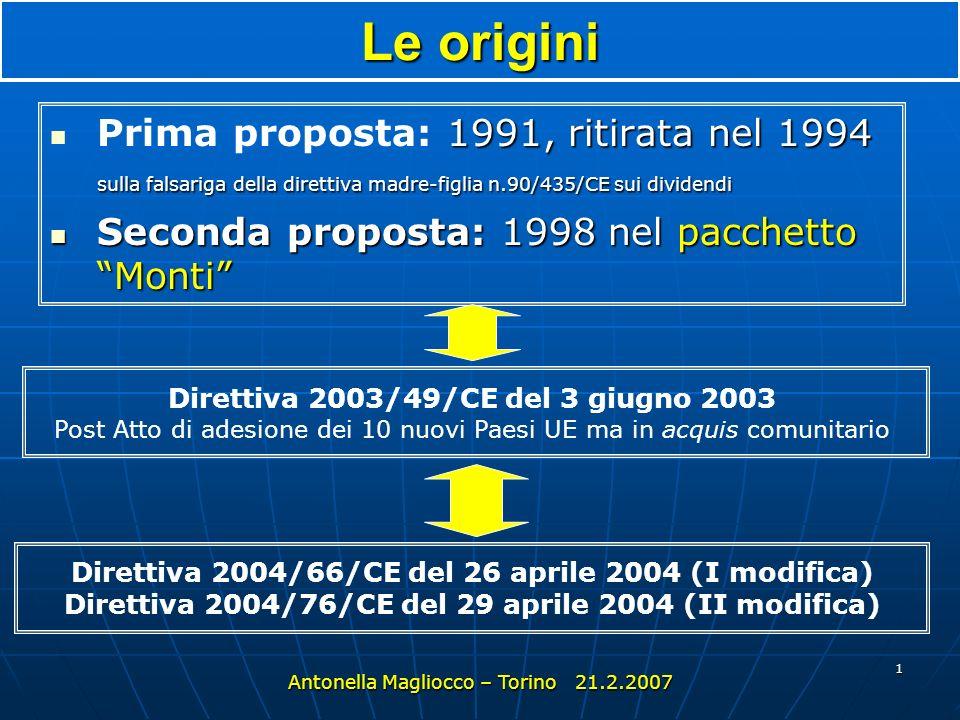 1 Le origini 1991, ritirata nel 1994 sulla falsariga della direttiva madre-figlia n.90/435/CE sui dividendi Prima proposta: 1991, ritirata nel 1994 sulla falsariga della direttiva madre-figlia n.90/435/CE sui dividendi Seconda proposta: 1998 nel pacchetto Monti Seconda proposta: 1998 nel pacchetto Monti Antonella Magliocco – Torino 21.2.2007 Direttiva 2004/66/CE del 26 aprile 2004 (I modifica) Direttiva 2004/76/CE del 29 aprile 2004 (II modifica) Direttiva 2003/49/CE del 3 giugno 2003 Post Atto di adesione dei 10 nuovi Paesi UE ma in acquis comunitario