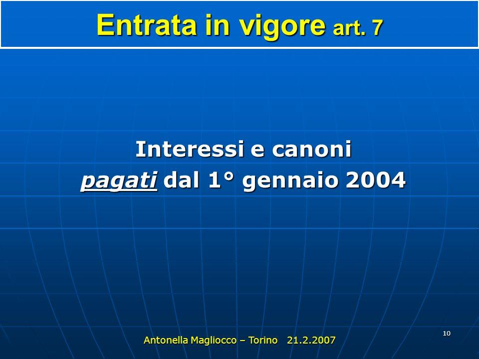 9 Rapporto partecipativo :società consociata Soc B Antonella Magliocco – Torino 21.2.2007 Soc A 25% Soc A 25% Soc C Soc A 25% Soc B N.B.: SOLO PARTECI