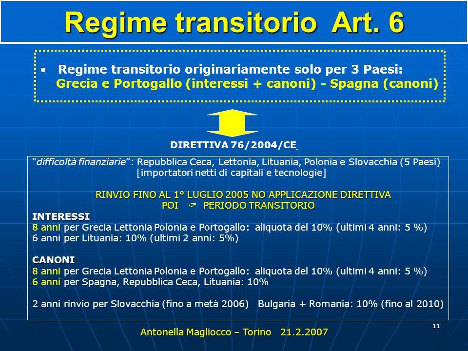10 Entrata in vigore art. 7 Interessi e canoni pagati dal 1° gennaio 2004 Antonella Magliocco – Torino 21.2.2007