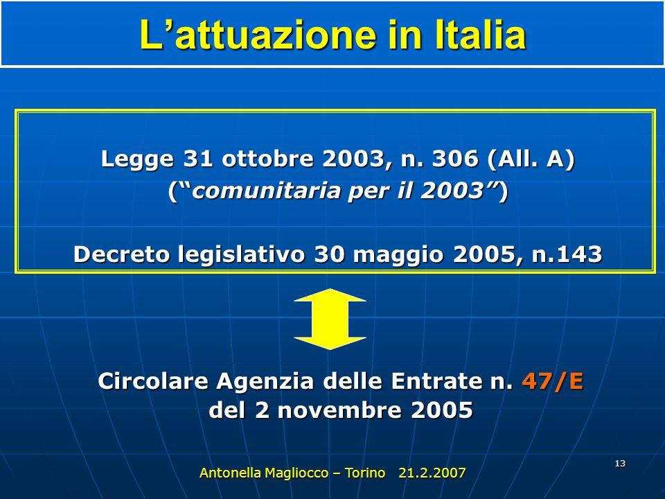 12 Laccordo UE - Svizzera Accordo bilaterale sulla fiscalità del 26.10.2004 art.15, c.2 sulla scia della direttiva sul risparmio Antonella Magliocco –
