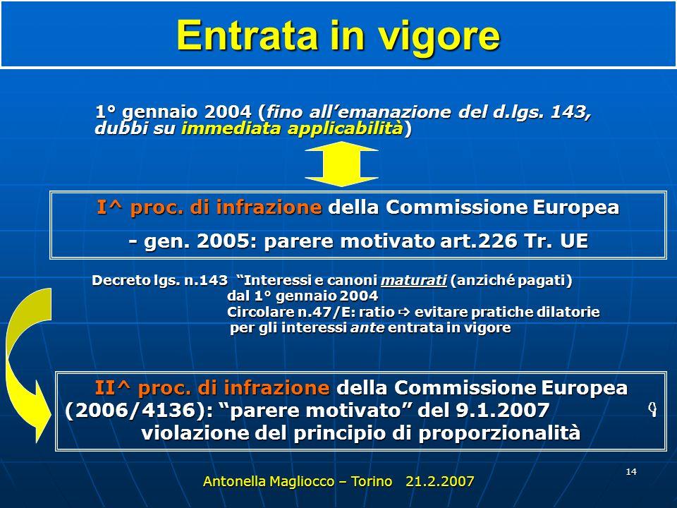13 Lattuazione in Italia Legge 31 ottobre 2003, n. 306 (All. A) (comunitaria per il 2003) Decreto legislativo 30 maggio 2005, n.143 Antonella Magliocc