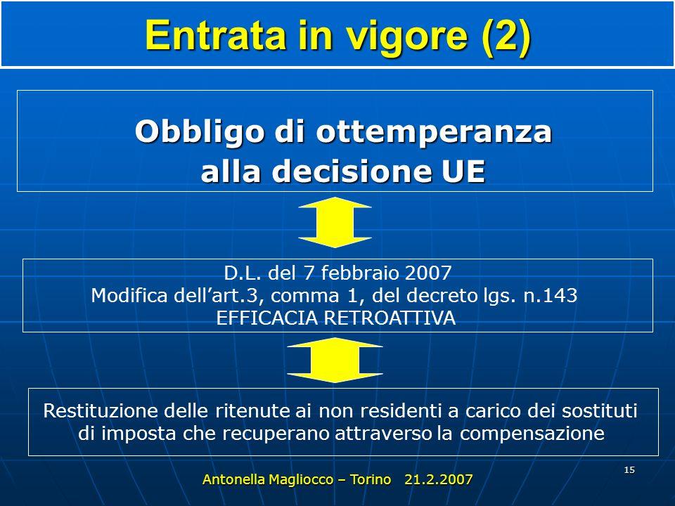 14 Entrata in vigore 1° gennaio 2004 (fino allemanazione del d.lgs. 143, dubbi su immediata applicabilità) Antonella Magliocco – Torino 21.2.2007 Decr